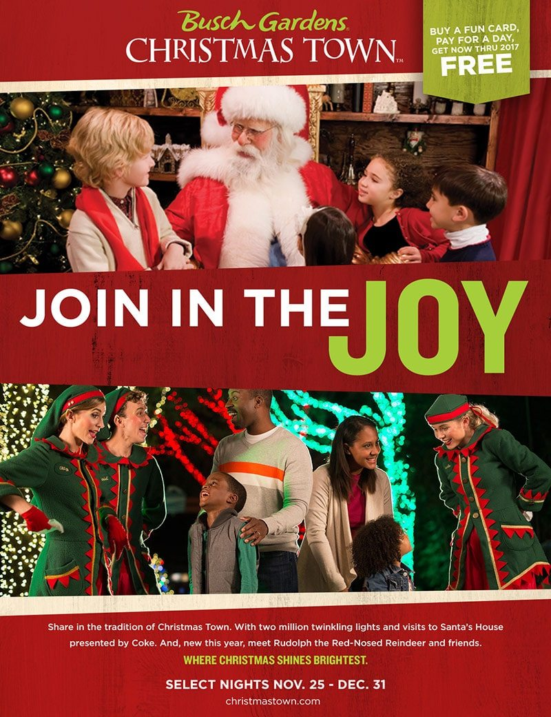 Christmas town cannonball agency for Busch gardens christmas town 2016