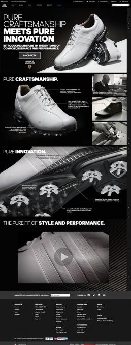 adidas golf adipure webpage design