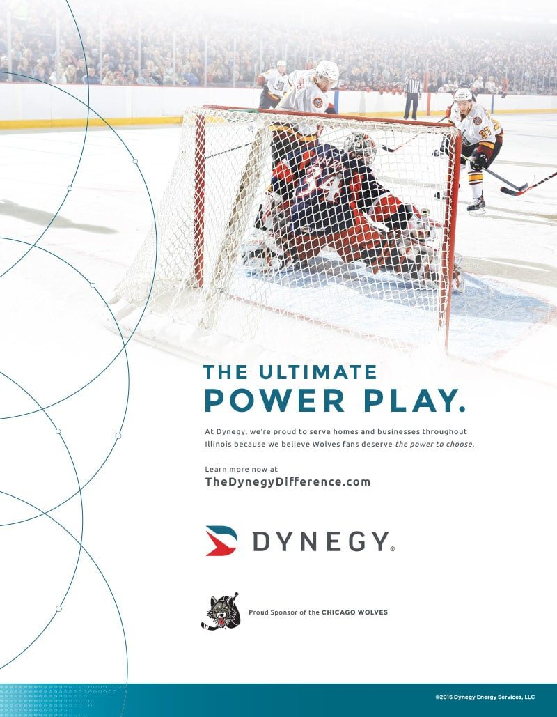 Dynegy Print Ad Design - Chicago Wolves